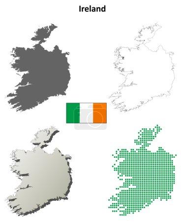 Blank detailed contour maps of Ireland