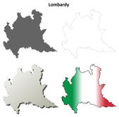 Lombardy outline map set