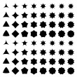 Curved star silhouette collection - vector version...