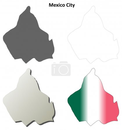 Mexico City blank outline map set
