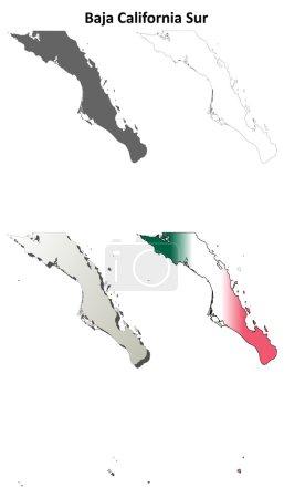 Illustration pour Baja California Sur jeu de carte de contour vierge - image libre de droit