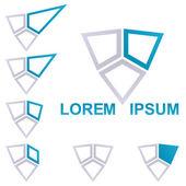 Blue technology symbol logo design set