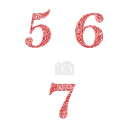 Red sketch font set - numbers 5, 6, 7