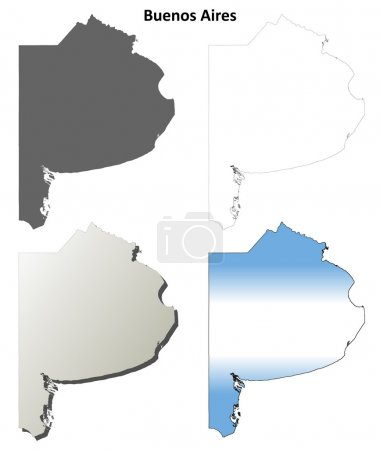 Buenos Aires blank outline map set