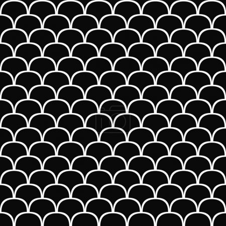 Illustration for Seamless black and white curved shape pattern background - Royalty Free Image