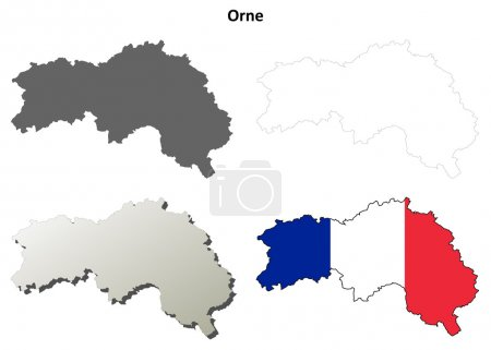 Orne, Lower Normandy outline map set