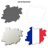 Lot-et-Garonne Aquitaine outline map set