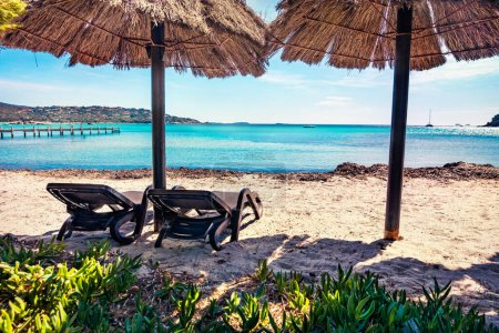 Photo for Sanny summer view of Santa Giulia beach. Bright morning scene of Corsica island, France, Europe. Amazing seascape of Mediterranean sea. Traveling concept background - Royalty Free Image