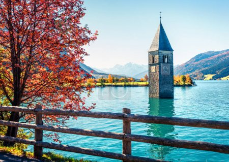 Photo for Attractive autumn view of Tower of sunken church in Resia lake. Amazing morning scene of Italian Alps, South Tyrol, Italy, Europe. Traveling concept background. - Royalty Free Image