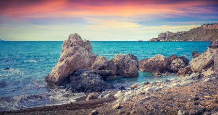 Photo for Colorful spring panorama of sunrise on the harbor and cape Milazzo with nature reserve Piscina di Venere before the storm, Sicily, Italy, Tyrrhenian sea, Europe. - Royalty Free Image
