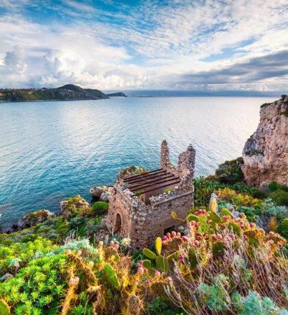 Photo for Old ruins at cape Milazzo, nature reserve Piscina di Venere, Sicily, Italy, Tyrrhenian sea, Europe. - Royalty Free Image