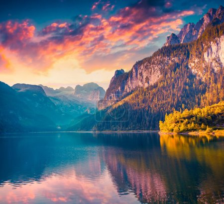 Photo for Colorful summer sunrise on the Vorderer Gosausee lake in the Austrian Alps. Austria, Europe. Instagram toning. - Royalty Free Image