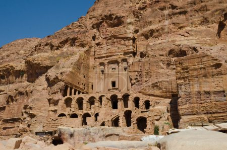 Walking between construction of the abandoned city of Petra in