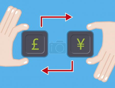 currency exchange. flat illustration with pound yen symbol