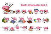 Set of Brain Cartoon Character Three