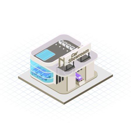 Illustration pour Cette image est une illustration vectorielle de bâtiment de showroom de voiture moderne - image libre de droit
