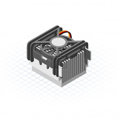 Illustration for This image is a fan of processor in desktop personal computer vector illustration - Royalty Free Image