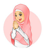 High Quality Muslim Woman Wearing Pink Veil with Welcoming Arms