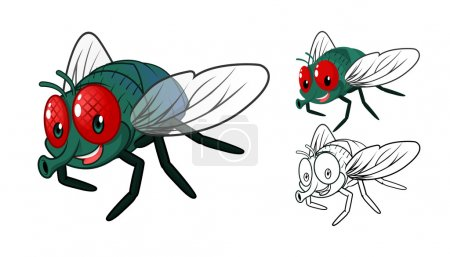 Illustration for High Quality Detailed Fly Cartoon Character with Flat Design and Line Art Black and White Version Vector Illustration - Royalty Free Image