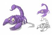 Detailed Scorpion Cartoon Character with Flat Design and Line Art Black and White Version