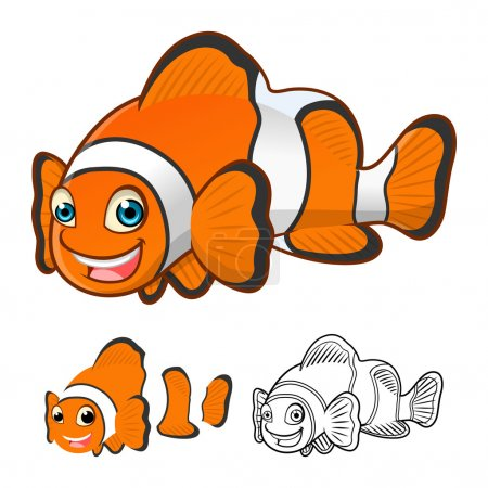High Quality Common Clownfish Cartoon Character Include Flat Design and Line Art Version