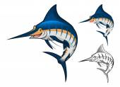 High Quality Blue Marlin Cartoon Character Include Flat Design and Line Art Version