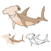 High Quality Hammerhead Shark Cartoon Character Include Flat Design and Line Art Version
