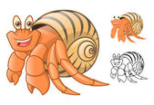 High Quality Hermit Crab Cartoon Character Include Flat Design and Line Art Version