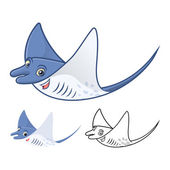 High Quality Manta Ray Cartoon Character Include Flat Design and Line Art Version