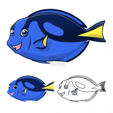 High Quality Regal Blue Tang Cartoon Character Include Flat Design and Line Art Version