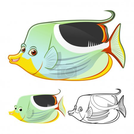 High Quality Saddle Butterflyfish Cartoon Character Include Flat Design and Line Art Version