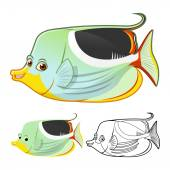Detailed Saddle Butterflyfish Cartoon Character Include Flat Design and Line Art Version