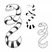 High Quality Sea Snake Cartoon Character Include Flat Design and Line Art Version