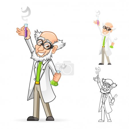 Scientist Cartoon Character Holding a Beaker and Test Tube with One Hand Raised and Feeling Great