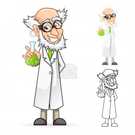 Scientist Cartoon Character Holding a Beaker Feeling Great