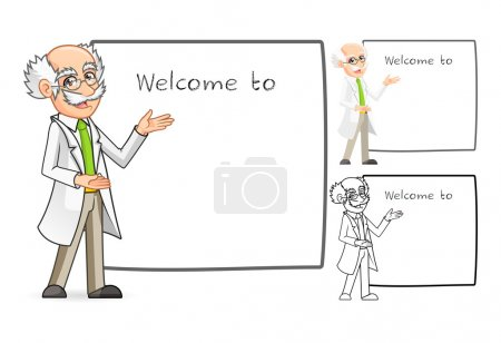 Scientist Cartoon Character with Welcoming Arms