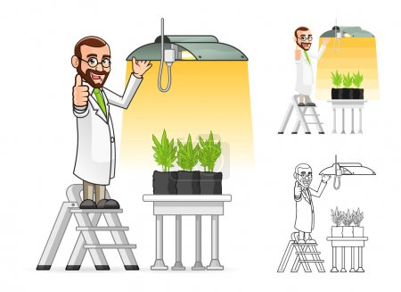 Plant Scientist Cartoon Character Hanging a Grow Light