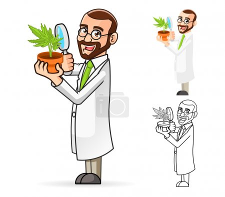 Plant Scientist Cartoon Character Looking at a Plant Through a Magnifying Glass