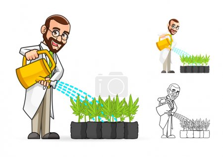 Scientist Cartoon Character Watering The Plants