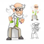 Scientist Cartoon Character Holding a Beaker and Test Tube