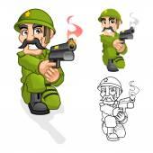 Captain Army Cartoon Character Aiming a Handgun with Shoot Pose