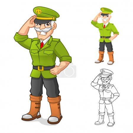 General Army Cartoon Character with Salute Hand Pose