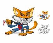 NInja Cat Mascot Cartoon Character
