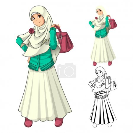 Illustration for Muslim Girl Fashion Wearing Veil or Scarf with Holding a Bag and Dress Outfit Include Flat Design and Outlined Version Cartoon Character Vector Illustration - Royalty Free Image