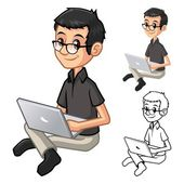 Geek Man with Glasses Playing Typing Notebook Cartoon Character Include Flat Design and Line Art Version Vector Illustration