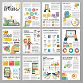 Big infographics in flat style Vector illustrations about digital projects management clients brief design and communication Use in website corporate report presentation advertising marketing