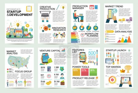 Illustration for Modern flat Infographics of startup business and launch new product on market. Use in website, corporate report, presentation, advertising, marketing, background, banner, diagram, brochure template. - Royalty Free Image