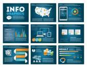 Nagy sor infographics elemek, a modern üzleti stílusban, infochat. Kék sötét bemutató sablon. Használata a honlapon, szórólap, vállalati jelentés, prezentáció, reklám, marketing