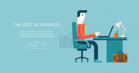 Flat modern design vector illustration concept of creative office workspace, workplace, procces of online shopping. Icon collection in stylish colors of business work