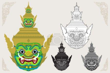 Ravana giant head vector illustration